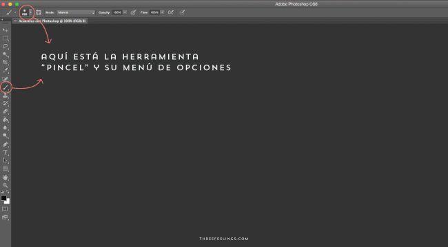 menu herramientas pinceles photoshop