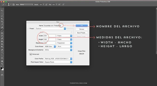 crear documento nuevo photoshop