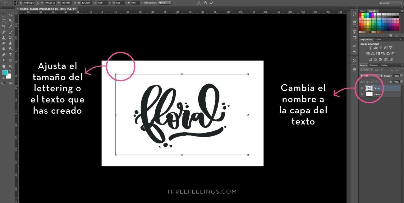 Aplicar texturas a textos - composición