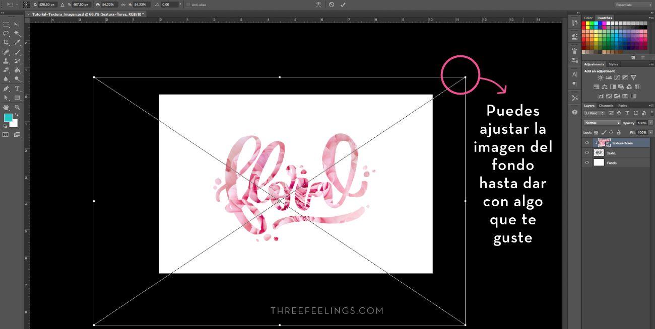Aplicar texturas a textos - pasos finales